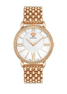 Versace pearl faced gold watch