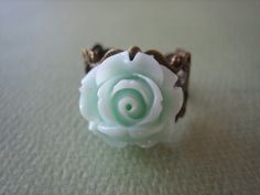 Petite Pale Mint Rose Flower Ring  Adjustable Antique by ZARDENIA, $9.00