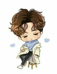 Kai Exo, Exo Kokobop, Luhan, Exo Stickers, Cute Bunny Pictures, Exo Anime, Exo Fan Art, Art Base, Bts Chibi