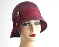 Straw Cloche Hat- Women- Spring Fashion- 1920s Flapper Hat- Burgundy Straw Hat on Etsy, $268.52 CAD