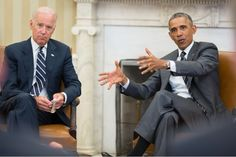 President Barack Obama, with Vice President Joe Biden, during a meeting in the Oval Office. The President is wearing his Jorg Gray JG6500.