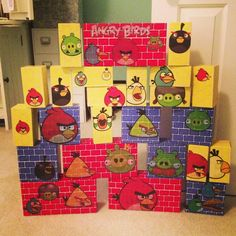 I made an Angry Birds game from cardboard blocks and wall decals... Use Angry Bird bean bags for ammo. Watch 'em fly! Handmade Christmas.