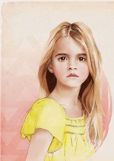 Custom Illustrated Child Portrait Art Print 8 x by HillaHryniszyn, €50.00 #draw #illustration #painting