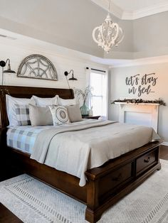 decor black and white to bedroom decor for bedroom decor decor yellow and grey decor master decor nz to design bedroom decor bedroom decor Modern Farmhouse Bedroom, Bedding Master Bedroom, Farmhouse Master Bedroom, Master Bedroom Makeover, Master Bedroom Design, Home Bedroom, Dark Wood Bedroom, Bedroom Ideas, Master Bedroom Furniture Ideas