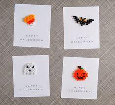 DIY Halloween party favors: perler beads + printable cards