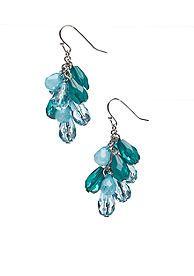 teal cluster earrings