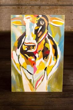 """Kalalou Cow Oil Painting 31x47""""  20% off #oilpainting #cowoil #cowart #moo #colorfulcow #funart"""