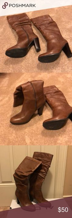 "Tall cognac leather boots. Aldo leather boots.  3"" heal slouchy calf.  Super cute!  Worn once! Aldo Shoes Heeled Boots"