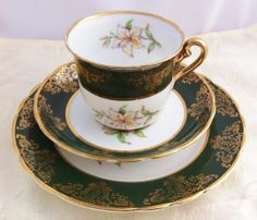 Dark Green Tuscan Tea Trio Lily by LavenderRoseCottage on Etsy, £15.00