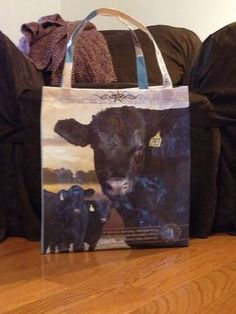 Recycled Feed Bag Tote Bag Black Angus Cattle cow (repurposed, upcycled) on Etsy