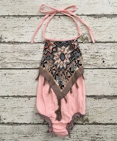 Take a look at this Chicaboo Peach & Tan Fringe & Pom-Pom Romper - Infant & Toddler today!