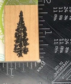 Rubber Stamp PINE TREE Mountains Forest Scene Building S91 #Unbranded