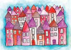 Alisa Burke — pink city matted 11x14 art print
