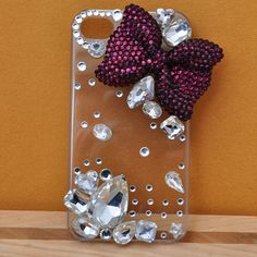 Bling Cell Phone Case for iPhone 4 4s 5 Handmade Clear Cover Purple Rhinestone Bow Crystal Gem Decored