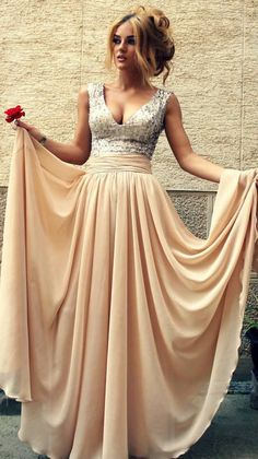 Stunning Sequined Long Champagne V Neck A Line Prom Dress