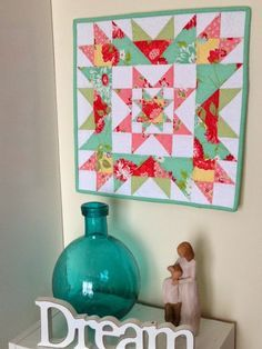 """Threadbare Creations: Free Pattern- Star Cluster Mini Quilt- This is a fun and easy little quilt to make and if you're new to piecing, its larger pieces are ideal to practice your skills I prefer to piece small blocks but I decided to design a mini quilt using a large 16"""" block. The Crown of Thorns block is my all time favorite, so I adapted it slightly, by adding a Crystal Star block to the centre to create, the Star Cluster Mini Quilt:"""
