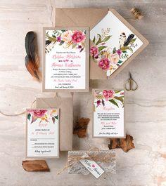 Rustikale Klöppelspitze Einladungen (20), Pink Lace Hochzeitseinladung, Hochzeitseinladungen Boho, Aquarell Hochzeit einlädt, Federn Einladungen
