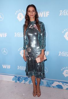 Angela Sarafyan Photos - Angela Sarafyan attends the Variety and Women In Film's 2017 Pre-Emmy Celebration at Gracias Madre on September 2017 in West Hollywood, California. - Variety And Women In Film's 2017 Pre-Emmy Celebration - Arrivals Blue Sequin Dress, Sequin Cocktail Dress, Red Carpet Dresses, Blue Dresses, Angela Sarafyan, Giuseppe Zanotti Heels, Inspirational Celebrities, Star Fashion, Jimmy Choo