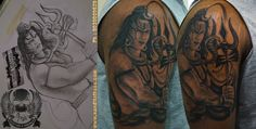 Custom designed Lord Shiva tattoo as a cover up on existing tribal arm band...