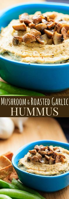 Mushroom and Roasted Garlic Hummus recipe. Everyone's favorite healthy dip recipe gets a flavor-packed makeover. And it's gluten free and vegan! Healthy Dip Recipes, Healthy Dips, Appetizer Recipes, Vegetarian Recipes, Cooking Recipes, Appetizers, Potato Recipes, Dinner Recipes, Vegetable Recipes