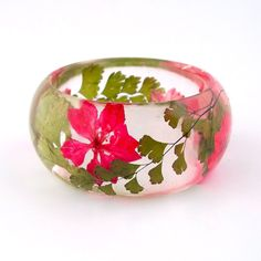 Fern and Larkspur Resin Bangle.  Botanical Statement Bangle.  Chunky Bracelet with Pressed Flowers. Maidenhair Fern and Red Pink Larkspur. $44.00, via Etsy. j'adore