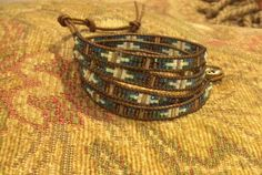 Handmade leather and glass beads wrap bracelet available on Etsy https://www.etsy.com/shop/LenettsCollections
