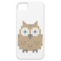 Owl faux cross stitch iPhone 5 case from Zazzle.com. Could also use this pattern on other items.