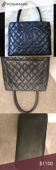 2e481e717aa23 Authentic CHANEL Medallion Black Caviar Tote This chic medium sized tote is  beautifully crafted of diamond