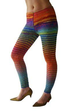 Rainbow Bright Wool Crochet Leggings - Size Small - Footless Tights. $69.00, via Etsy.