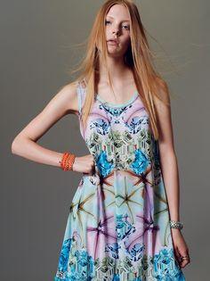 "Naughty Dof SS15 mini dress with ""Flowers & jewels"" print."