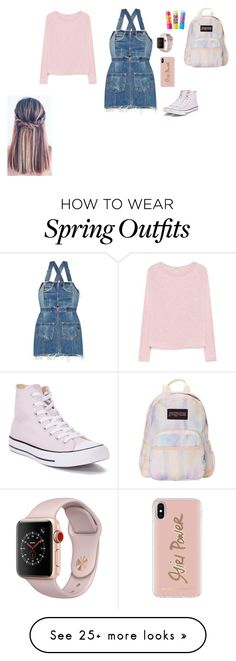 """School outfit"" by l-roberts-1 on Polyvore featuring Converse, RE/DONE, American Vintage, JanSport, Chapstick, Apple and Rebecca Minkoff Clothes For Sale, Online Shopping Clothes, Clothes For Women, New Fashion Clothes, Fashion Outfits, Fancy Dress Outfits, Cute Outfits, Complete Outfits, Polyvore Outfits"