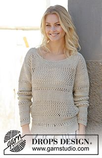 Free knitting patterns and crochet patterns by DROPS Design Lace Knitting Patterns, Lace Patterns, Moda Crochet, Knit Crochet, Summer Knitting, Free Knitting, Laine Drops, Crochet Design, Handgestrickte Pullover
