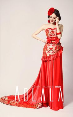 How make Slim: Chinese red wedding dresses