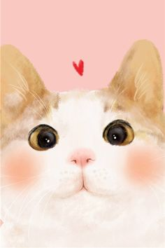 cute cat | art | little red heart | www.topit.me