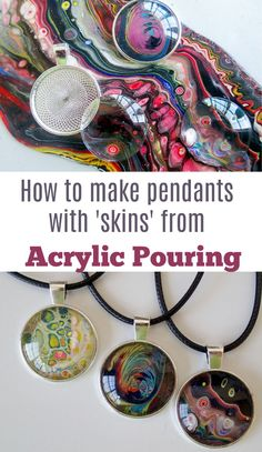 How to make amazing unique painted pendants using 'skins' made from leftover acrylic paints. Acrylic pouring skins turned into pendants - tutorial.Check out this video on how to use varnish as an acrylic pouring medium. Acrylic Pouring Techniques, Acrylic Pouring Art, Acrylic Art, Resin Crafts, Resin Art, Resin Jewelry, Jewelry Crafts, Flow Painting, Pour Painting