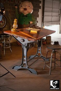 Copper industrial drafting table. by SwingRiotCustom on Etsy