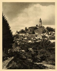 1934 Stramberg River Elbe Czech Republic Stramberk - ORIGINAL PHOTOGRAVURE GER4 Over The Hill, Water Damage, Original Image, Czech Republic, Paris Skyline, Castle, Germany, Tower, Black And White