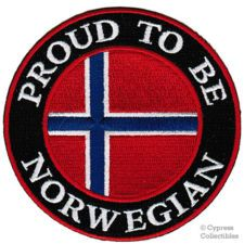 PROUD TO BE NORWEGIAN embroidered iron-on PATCH NORWAY FLAG NORGE VIKING
