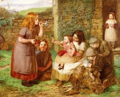 Bubbles, Cottage Scene with Children by John Dawson Watson Date painted: 1856 Oil on wood panel, 35 x 44 cm Collection: The Higgins Art Gallery & Museum, Bedford John Dawson, Vie Simple, Munier, Creation Photo, Soap Bubbles, Art Uk, Your Paintings, Figure Painting, American Artists