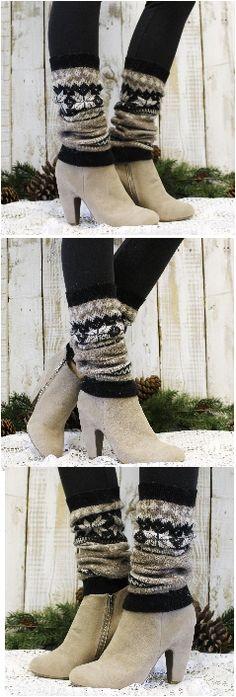 Nothing says L~O~V~E  like Cashmere! Snowflake cashmere leg warmers, fall fashion by Catherine Cole Studio