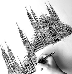 7 Photorealistic Architectural Pencil Drawings- 3 – – Art Drawing Tips Pencil Drawings Of Girls, Art Drawings, Girl Hair Drawing, Architect Logo, Architect House, Milan Cathedral, Drawing For Beginners, Drawing Tips, Building Drawing