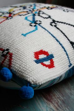 london underground cross stitch pillow