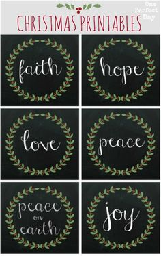 Free Christmas printables to download. These would look great displayed in frames or maybe gift tags?