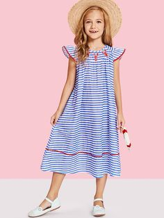 SHEIN offers Girls Animal Print Ruffle Detail Striped Dress & more to fit your fashionable needs. Toddler Fashion, Kids Fashion, Fashion Outfits, Fashion Trends, Little Girl Dresses, Girls Dresses, Coat Dress, Dress Up, Classy Outfits