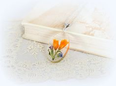 Orange Real flower pendant dried flowers necklace by Nikita551, €20.00