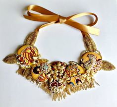 Gold beaded statement embroidery necklace by Diomios on Etsy