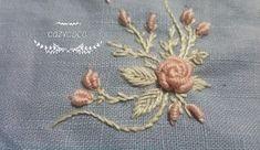 프랑스자수 핑크로즈 카드지갑 - 코지코코 : 네이버 블로그 Saree Embroidery Design, French Knot Embroidery, Towel Embroidery, Hand Embroidery Tutorial, Embroidery Flowers Pattern, Creative Embroidery, Simple Embroidery, Flower Patterns, Embroidery Stitches