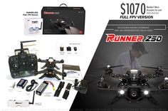 (FPV Ready-to-Fly) WALKERA RUNNER 250 Racing Drone FULL FPV Version with Kit, GOGGLE2 5.8G First-Person-View (FPV) Glasses, DEVO-7 Radio Transmitter MODE 2, PRE-INSTALLED Brushless Motors, PRE-INSTALLED 5.8Ghz Video Module, PRE-INSTALLED HD Camera, PRE-INSTALLED OSD, Battery, Charger. Video - https://www.youtube.com/watch?v=wFnwFBTmJ0I