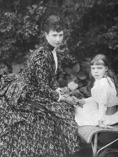 Empress Maria Feodorovna and her daughter Grand Duchess Olga Alexandrovna 1889