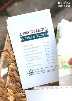 "My Sister's Suitcase: Nautical Baby Shower Printable ""price is right"" game"